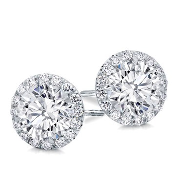 Round Halo Diamond Earring Setting