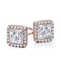 Princess Halo Diamond Earring Setting | E5198