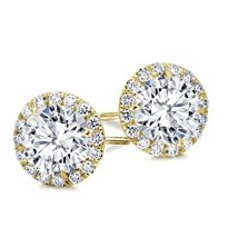 Round Halo Diamond Earring Setting | E5197