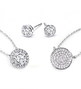 ESG1, P5211, P5182 | Bezel Set Stud Earrings, Diamond Pave Circle Necklace, Halo Pendant with Round Diamond