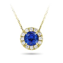 Blue Sapphire And Diamond Halo Necklace | P5176