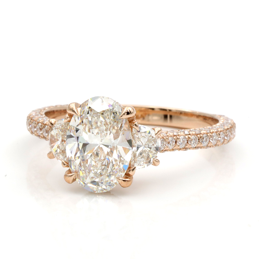 Shown with 1.50ct H Color Diamond in 14k Rose Gold