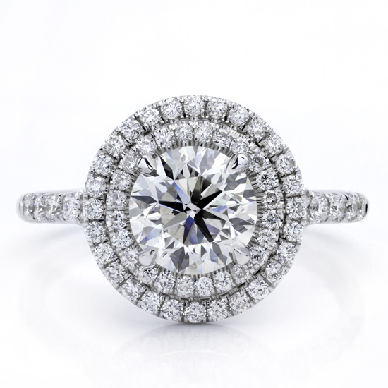 Shown with 1.50 Round center stone and contains 62 H VVS2 pave set diamonds