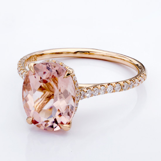 Shown with 10.5mm Morganite 1/2 down