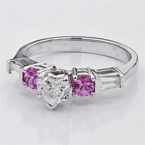 Pink Sapphire and Round Diamond Setting