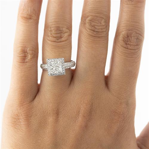 Pave Engagement Setting for Princess Cut Diamond