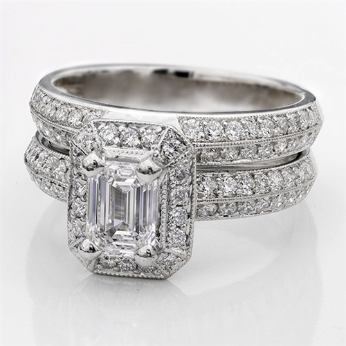 Pave Setting for Emerald or Radiant Cut Diamond