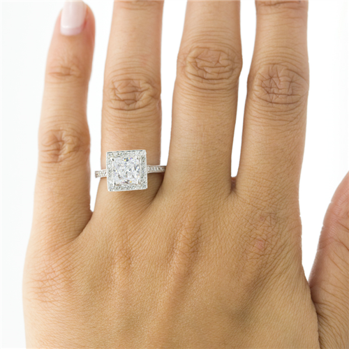 Pave Engagement Setting for Square Diamond