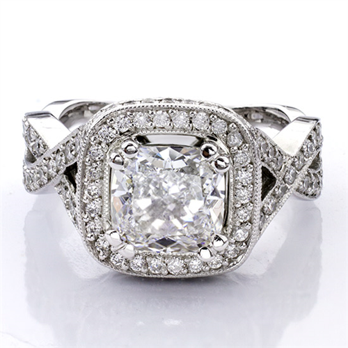 Braided Pave Setting for Square Diamond