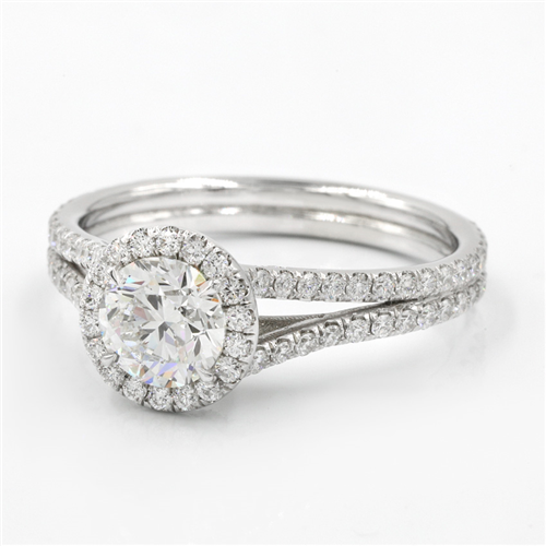 French Cut Engagement Setting for Round Diamond