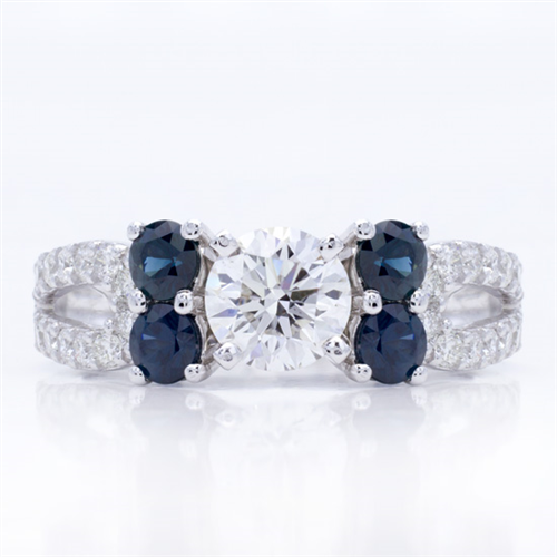 Blue Sapphire and Pave Engagement Setting