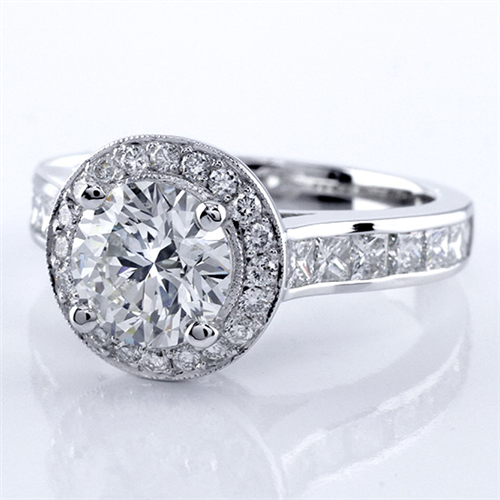 Princess Cut Channel and Pave Halo Setting