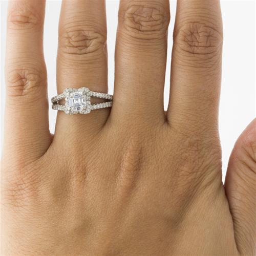 V Halo Engagement Ring For Square Diamond