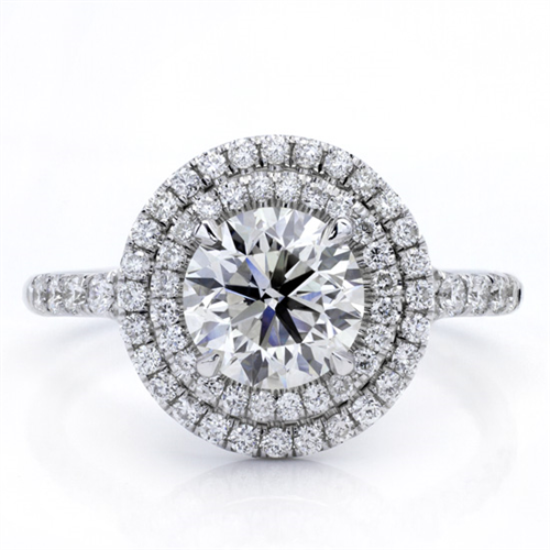 Round Double Halo Split Shank Diamond Ring