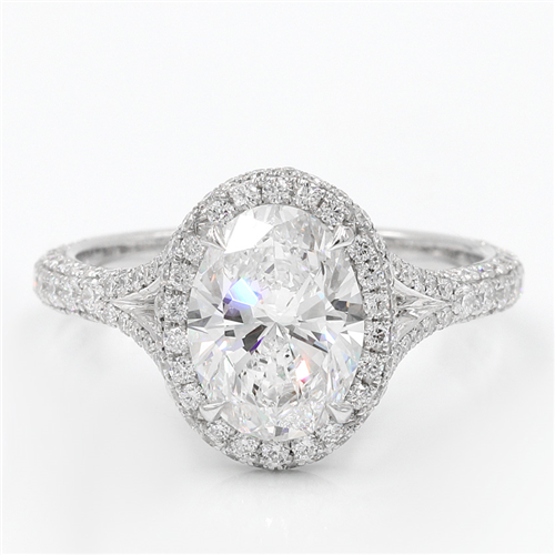 3 Row Pave Engagement Ring Setting