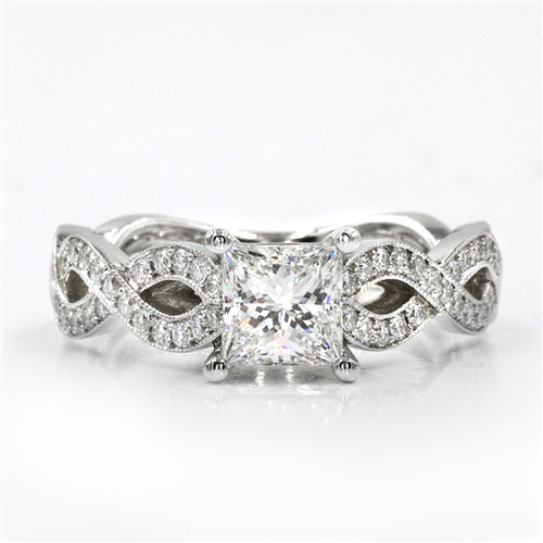 Twisted Diamond Band Basket  Engagement Setting