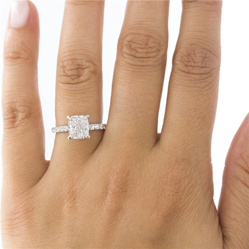 French Cut Diamond Basket Engagement Setting 2mm