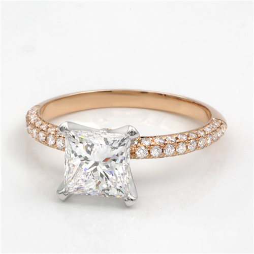 4 Prong Perfect Solitaire with 3 Row Pave