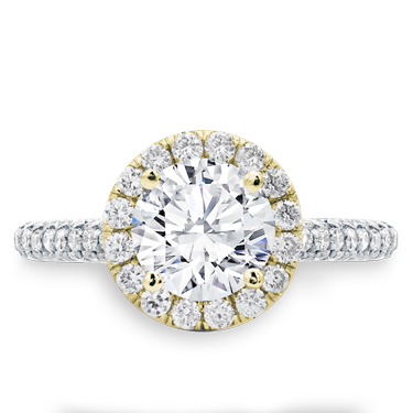 Custom 3 Row Pave Engagement  Setting Yellow  Halo