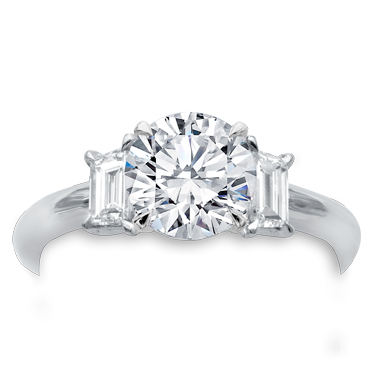 3 Stone Engagement Ring Setting With Trapezoids