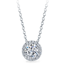 Pre-Set diamond halo pendant, select carat size
