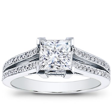 Split Shank Pav Setting for Princess Cut Diamond R2820