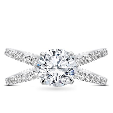 Diamond Criss Cross Engagement Ring Setting