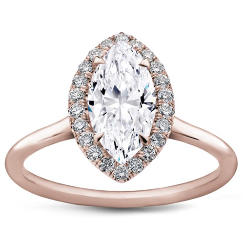 Plain Band Marquise Halo Engagement Setting