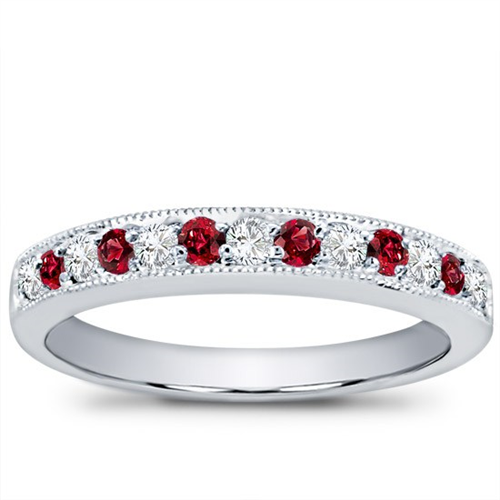 Milgrain and Pave Ruby Band
