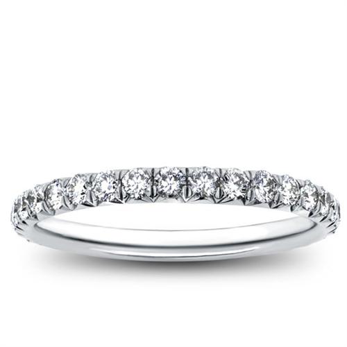 French Cut Pave 0.85 cttw Diamond Eternity Band 2mm