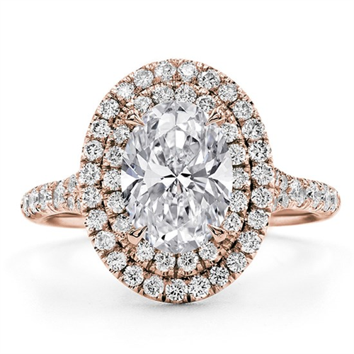 Double Halo Oval Engagement Ring Setting In 14k Rose Gold