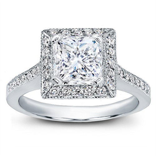 Square Halo Pave-Set Engagement Ring