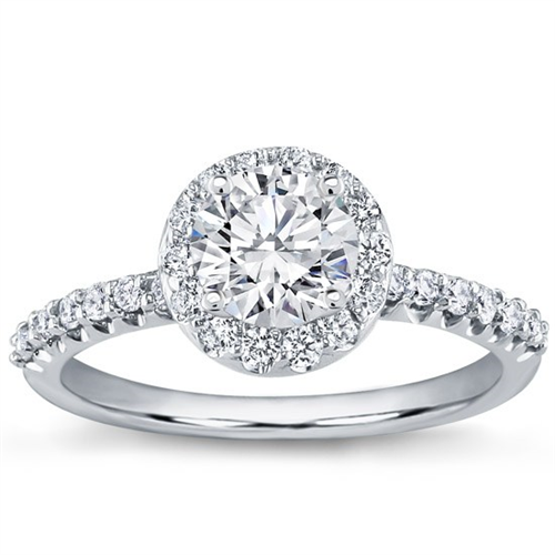 Pave Engagement Setting for Round Diamond