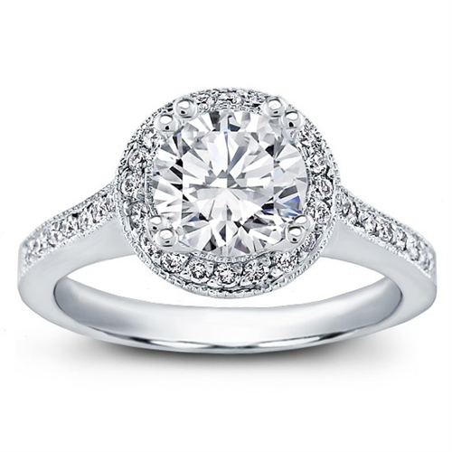 Round Halo Pave-Set Engagement Ring