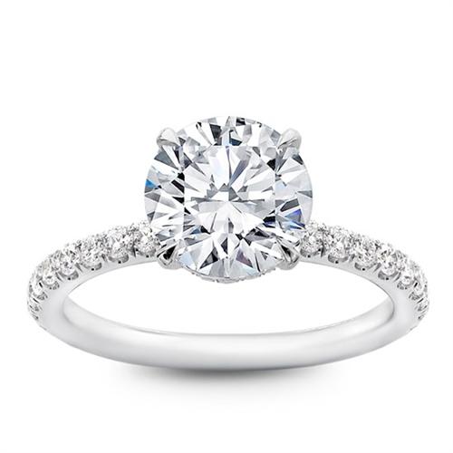 Low Basket Pave Diamond Engagement Ring Setting