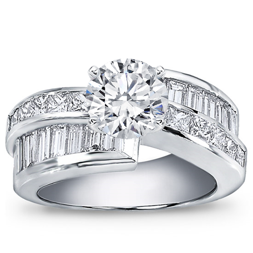 2 1/2 ct. tw. Princess-Cut and Baguette Setting