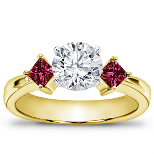 Princess Cut Ruby Accented Engagement Setting