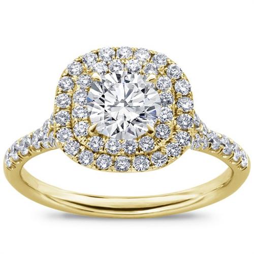 Cushion Double Halo Split Shank Diamond Ring