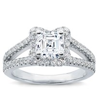 V Halo Engagement Ring For Square Diamond | R2950