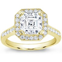 Pave Engagement Setting For Square Diamond (0.45 Cttw) | R2863