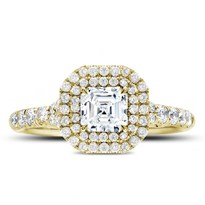 Cut Corner Double Halo Engagement Ring Setting | R3114