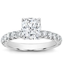 Large French Cut Diamond Engagement Setting | R2834