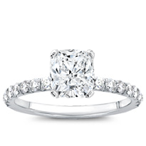 French Cut Pave Engagement Setting 2mm | R3034