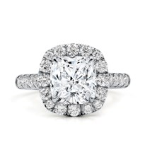 Large Pave Cushion Halo Engagement  Setting | R3102