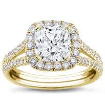 Split Shank Halo Setting For Cushion Cut Diamond | R2988