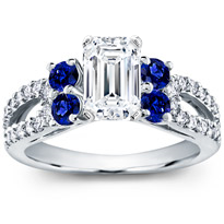 Blue Sapphire And Pave Engagement Setting | R2911S