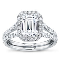Split Shank Halo Setting For Emerald Cut Diamond | R3048