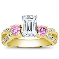 Pink Sapphire Accented Pave Setting | R2771P