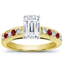 Milgrain And Pave Ruby Engagement Setting | R2773R