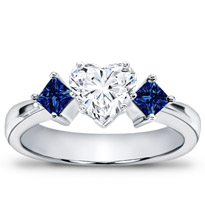 Princess Cut Sapphire Accented Engagement Setting | R2145S
